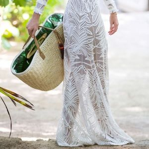 India Hicks Palm straw basket /bag with tassels